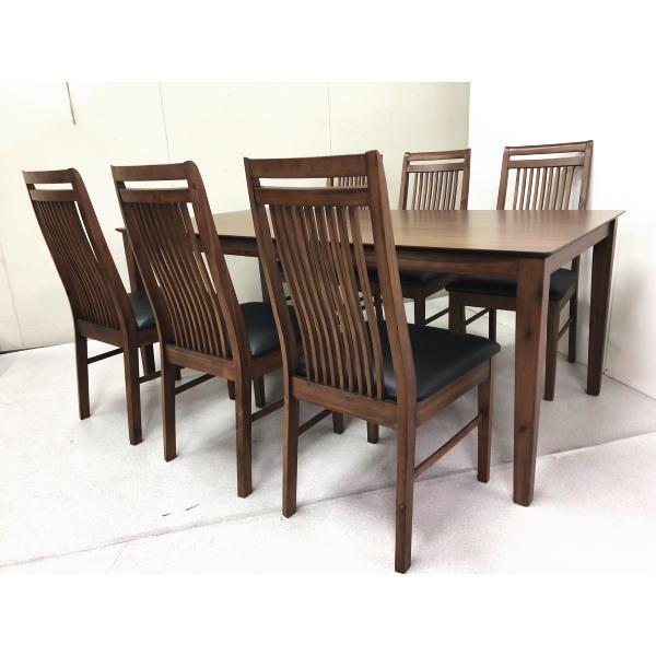 ダイニングテーブルセット テーブル チェア 椅子 イス ウォールナット 天然木 モダンデザイン 北欧 ダイニング7点セット ファラオ 180テーブル 木製 ブラウン 6人 高級 人気 おしゃれ
