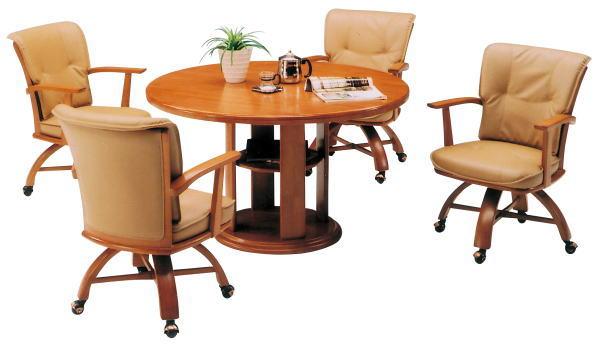 ダイニングテーブルセット 丸テーブル ダイニングテーブル ダイニングセット 回転チェア 肘付き キャスター エレガント ダイニング 5点セット 120 円卓
