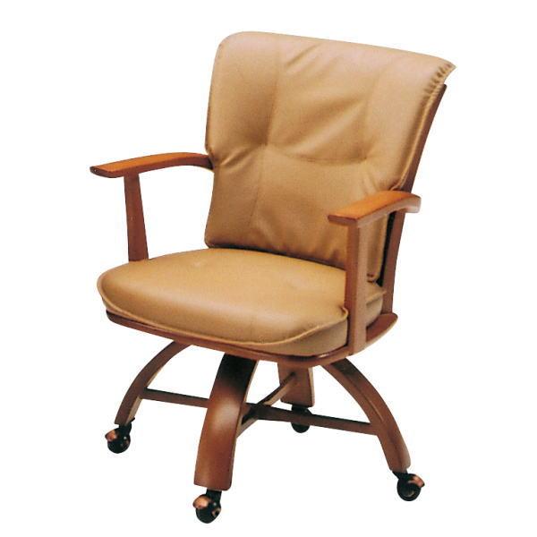 送料無料 回転キャスター付き イス 椅子 イス ダイニングチェア 木製 キャスター付き 回転 ブラウン ナチュラル ノッティ 単品 おしゃれ