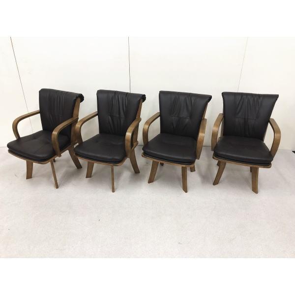 4脚入り 時間指定不可 座り心地の良い おしゃれ 北欧 木製 ブラウン ダイニングチェア 贈呈 椅子 送料無料 セール プラス 和風 回転