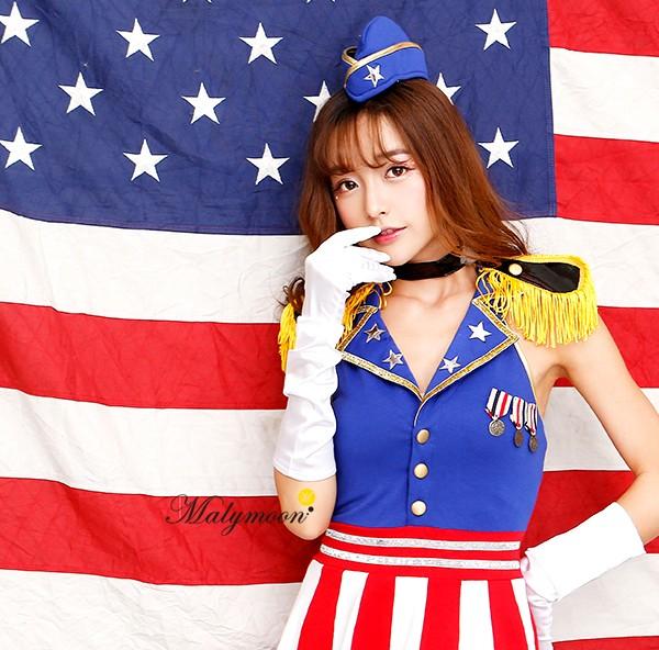 MalymoonUSAガール [アメリカ国旗 コスプレ セクシー ハロウィン 女性 衣装 仮装 ]【405565】