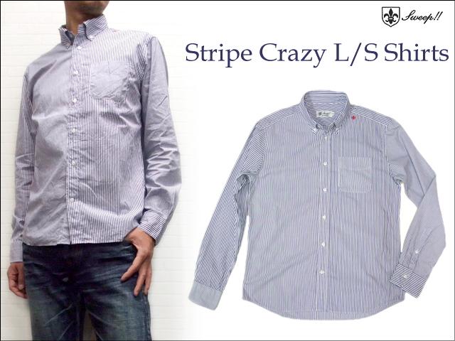 Sweep(スウィープ) ストライプボタンダウン長袖シャツ クレイジーパターン