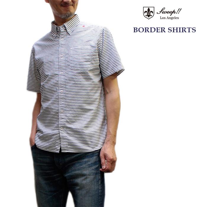 Sweep(スウィープ) ボーダー柄オックスフォードボタンダウン半袖シャツ Border Oxford S S/S/S Oxford Shirts メンズシャツ メンズシャツ, shop-ogi:e67988d5 --- sunward.msk.ru
