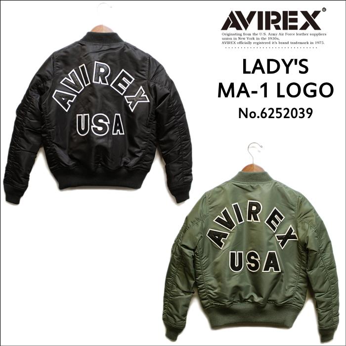 AVIREX LADYS MA-1 LOGO No.6262078 (アヴィレックス/アビレックス レディースMA-1ジャケットバックロゴ フライトジャケット)