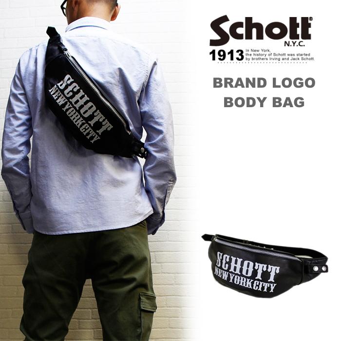 Schott LEATHER BODYBAG LOGO レザーボディーバッグロゴ入り(ウエストバッグ) 送料無料・ショット正規代理店
