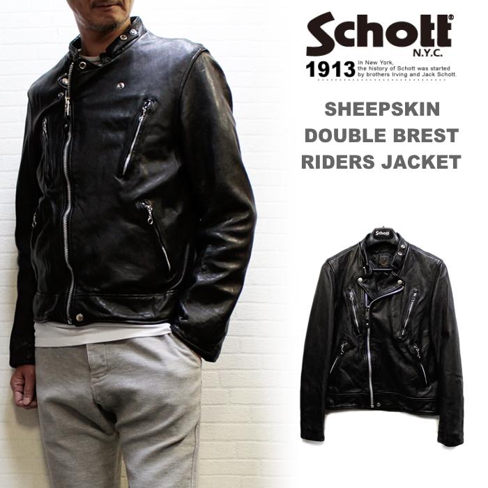 Schott ショット シープ革ダブルブレストライダース (DOUBLE BREST RIDERS) メンズ革ジャン
