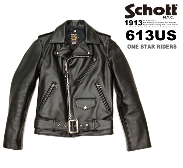 Schott ショット ダブルライダースジャケット ワンスター 613US (ショットライダース613US ショット 革ジャン メンズライダース 7007)