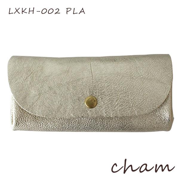 【 日本製 】 cham ( チャム ) HAKU ( ハク ) HAKU PLUMP WALLET / プラチニウム LXKH-002 PLA 革 ( レザー ) 長財布.