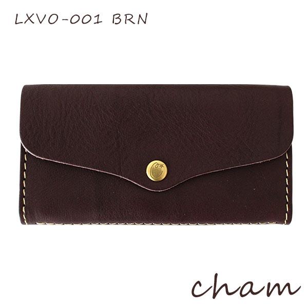 【 日本製 】 cham ( チャム ) BREATH ( ブレス ) FLAP LONG WALLET / ブラウン LXVO-001 BRN 革 ( レザー ) 長財布.