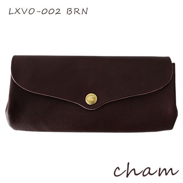 【 送料無料 】【 日本製 】cham ( チャム ) BREATH ( ブレス ) PLUMP WALLET / ブラウン LXVO-002 BRN 革 ( レザー ) 長財布.