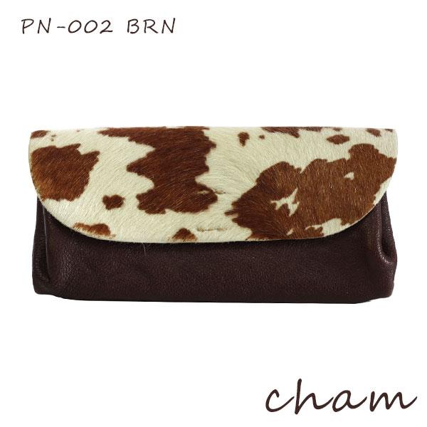 【 日本製 】 cham ( チャム ) PONY ( ポニー )PONY PLUMP WALLET / ブラウン PN-002 BRN ハラコ 革 ( レザー ) 長財布 .