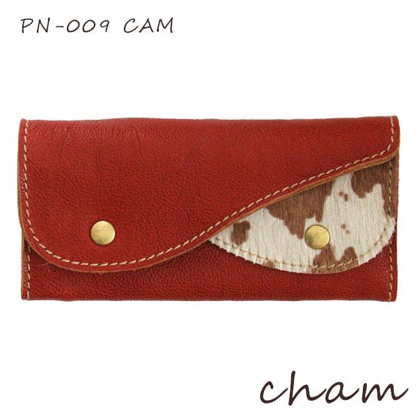【 送料無料 】【 日本製 】cham ( チャム ) PONY ( ポニー )PONY DOUBLE FLAP WALLET / キャメル PN-009 CAM ハラコ 革 ( レザー ) 長財布.