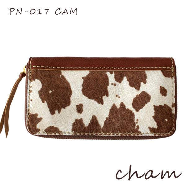 【 送料無料 】【 日本製 】 CHAM ( チャム ) PONY ( ポニー ) PONY ROUND ZIP WALLET / キャメル PN-017 CAM ハラコ 革 ( レザー ) 長財布 .