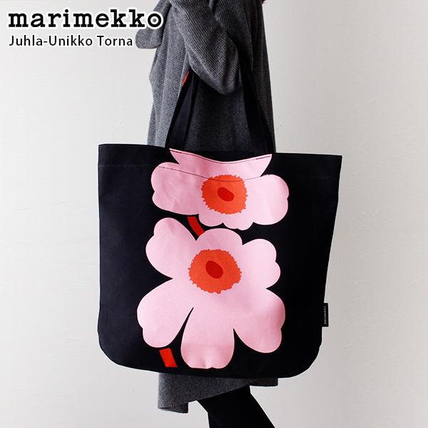 marimekko ( マリメッコ ) Juhla - Unikko ( ウニッコ ) Torna トートバッグ / ブラック×ピンク×ブラウン 【 正規販売店 】【 あす楽 】