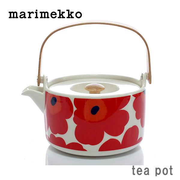 marimekko ( マリメッコ ) UNIKKO Tea pot ( ウニッコ ティーポット )/ レッド 茶こし 付き  【 正規販売店 】.