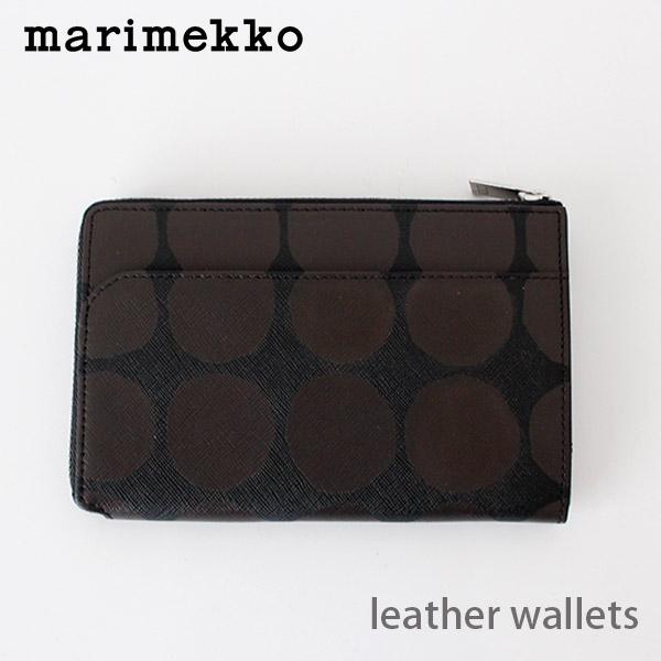 marimekko ( マリメッコ )  L型 ファスナー 財布 Kivet ( キヴェット ) レザー ウォレット AIDA 革製 / ブラック×ブラウン .