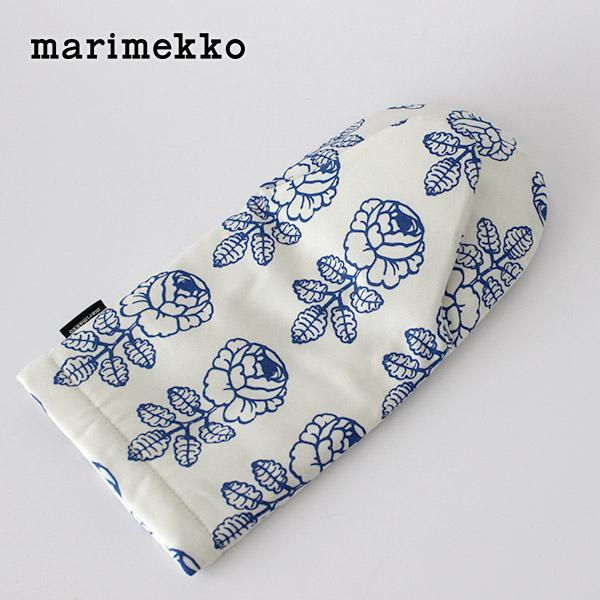 marimekko ( マリメッコ ) VIHKIRUUSU ( ヴィヒキルース ) Oven mitten オーブン ミトン / ホワイト×ブルー .