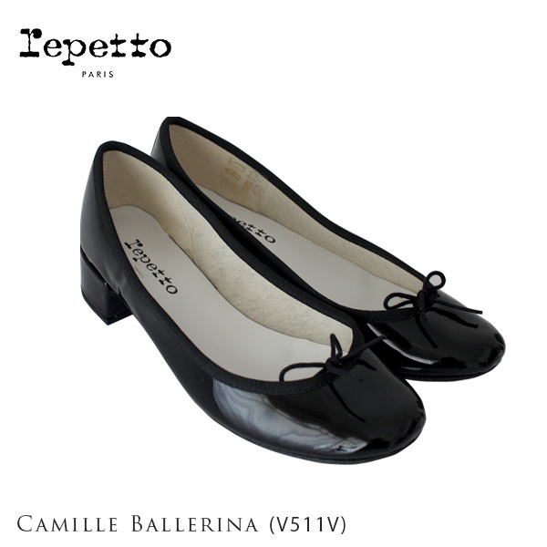 repetto ( レペット )【 V511V 】 Camille ( カミーユ ) パテントレザー ミドルヒール バレエシューズ / ブラック 【 正規販売店 】.