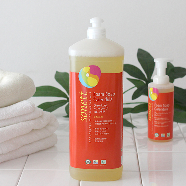 SONETT(十四行詩洗滌劑)外形手肥皂蒈烯銅鑼(柑橘派的香味)1L(由于泡而來的手肥皂最終階段替換事情)。