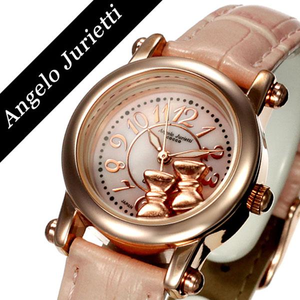 アンジェロジュリエッティ 腕時計 Angelo Jurietti 時計 Angel 腕時計 レディース かわいい プチプラ ピンク AJ4051-PGPK-PK ピンクゴールド ローズゴールド おしゃれ 可愛い ブランド 革ベルト レザー バングル 生活 防水 キッズ