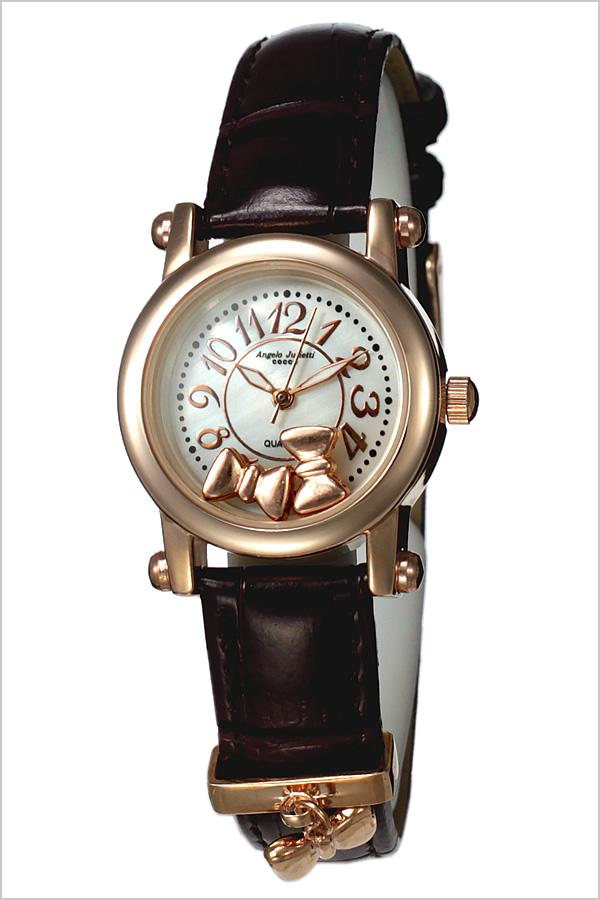 アンジェロジュリエッティ 腕時計 Angelo Jurietti 時計 Angel 腕時計 レディース かわいい プチプラ ホワイト AJ4051-PGWH-BR おしゃれ 革ベルト バングル キッズ 人気 大人 ブランド 生活 防水