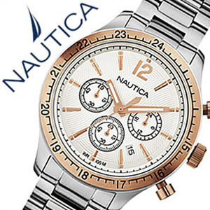 【5年保証対象】ノーティカ腕時計 NAUTICA時計 NAUTICA 腕時計 ノーティカ 時計 スポーツクロノクラシック クラシック スポーティ カジュアル BFD104 CLASSIC SPORTY CASUAL メンズ ホワイト A19618G アナログ シルバー おしゃれ アメリカン ブランド 送料無料