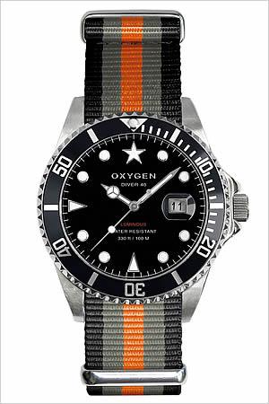 オキシゲン腕時計 OXYGEN時計 OXYGEN 腕時計 オキシゲン 時計 ダイバー アムステルダム Diver Amsterdam 40 メンズ ブラック ホワイト AMS-40-BLGROR [アナログ シルバー 銀 グレー オレンジ ダイバー デザイン モデル][バーゲン プレゼント ギフト][おしゃれ 腕時計]