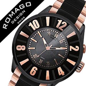 ロマゴデザイン腕時計 ROMAGODESIGN時計 ROMAGO DESIGN 腕時計 ロマゴ デザイン 時計 ヌメレーション シリーズ Numeration series メンズ ブラック ゴールド RM007-0053SS-RG [アナログ マジックミラー ライト 黒 金][バーゲン プレゼント ギフト][おしゃれ 腕時計]