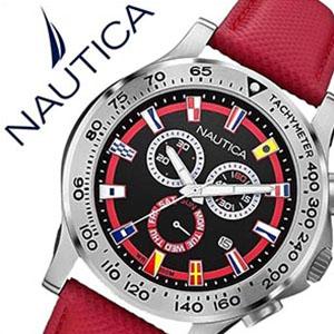 ノーティカ腕時計 NAUTICA時計 NAUTICA 腕時計 ノーティカ 時計 フラッグ NST600 CHRONO FLAG メンズ ブラック×レッド A19596G [正規品 人気 スポーティー ブランド ギフト バーゲン プレゼント ご褒美][おしゃれ 腕時計]