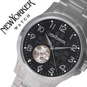 ニューヨーカー腕時計 NEWYORKER時計 自動巻き腕時計 自動巻き時計 自動巻き 腕時計 時計 機械式腕時計 機械式 NEW YORKER ニューヨーカー ジャスティス Justis メンズ ブラック NY005-03 オープンハート トラッドクラシック ルイ15世リューズ 防水 送料無料 mdw