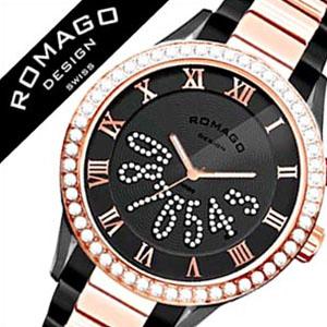 ロマゴデザイン腕時計 ROMAGODESIGN時計 ROMAGO DESIGN 腕時計 ロマゴ デザイン 時計 ラグジュアリー シリーズ Luxury ブラック ピンクゴールド RM019-0214SS-RGBK [ ラインストーン 白 ピンクゴールド BLACK][バーゲン プレゼント ギフト][おしゃれ 腕時計]