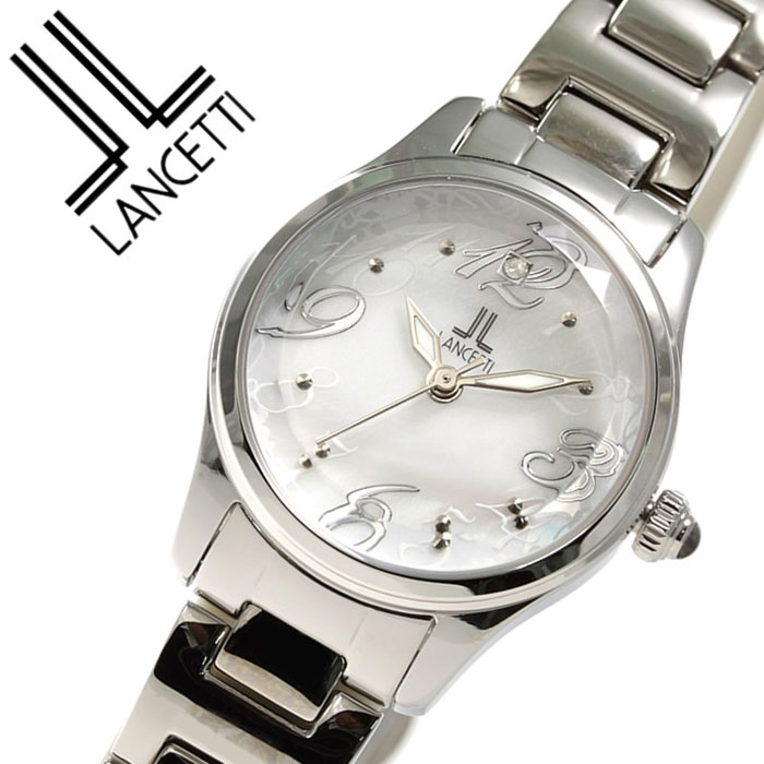 ランチェッティ腕時計 LANCETTI時計 LANCETTI 腕時計 ランチェッティ 時計 レディース ホワイトシェル LT-6203S-WH アナログ クリスタル ストーン ホワイト シルバー 白 銀 3針 2035 ブランド おしゃれ かわいい ブランド 生活 防水 送料無料