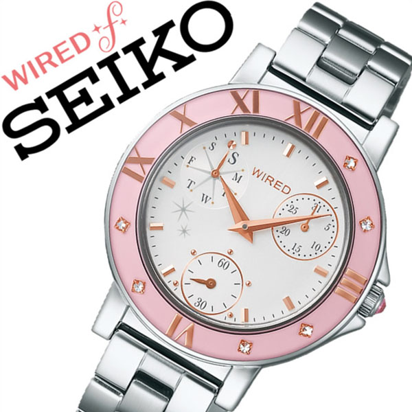 ワイアードエフ腕時計 WIREDf時計 WIRED f 腕時計 ワイアード エフ 時計 レディース ホワイト AGET402 [アナログ 防水 SEIKO シルバー ピンク VD76 ギフト バーゲン プレゼント ご褒美][おしゃれ 腕時計]