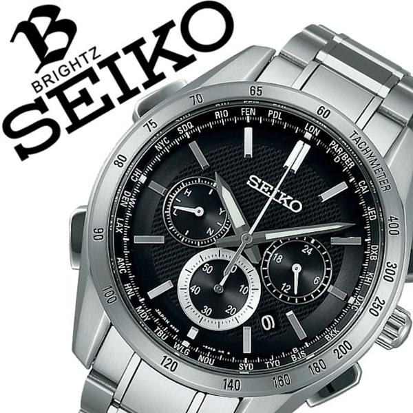 セイコー ブライツ 腕時計 SEIKO BRIGHTZ 時計 セイコーブライツ SEIKOBRIGHTZ ブライツ セイコー BRIGHTZ SEIKO メンズ ブラック SAGA193 メタル ベルト 正規品 ソーラー 電波修正 クロノグラフ 防水 シルバー 父の日 ギフト