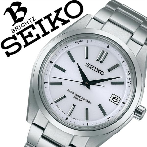 セイコー腕時計 SEIKO時計 SEIKO 腕時計 セイコー 時計 ブライツ BRIGHTZ メンズ ホワイト SAGZ079 [メタル ベルト 正規品 ソーラー 電波 修正 防水 シルバー シンプル][バーゲン プレゼント ギフト][おしゃれ 腕時計]