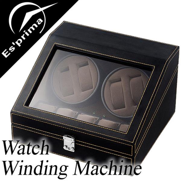 自動巻き上げ機 自動巻き機 ワインディングマシーン 腕時計 時計 ワインディング マシン ウォッチ ワインダー ワインダー 時計ケース 腕時計ケース メンズ レディース SP-43014LBK 4本巻き 4本 4連 9本 レザー 機械式 自動巻き 自動巻 機械式時計 送料無料