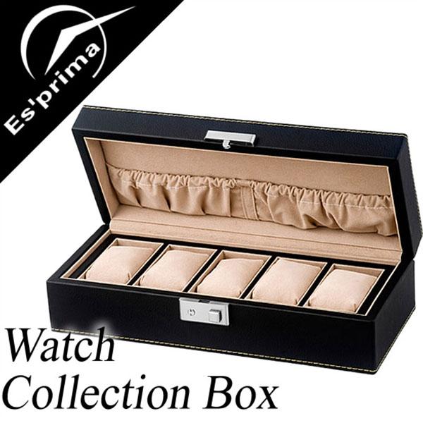 コレクションボックス 腕時計ケース Collection Box コレクションケース 時計ケース [時計 腕時計] SP-80048LBK [ディスプレイ ウォッチケース 収納ケース 5本収納 5本 木製 収納 インテリア エスプリマ 人気][バーゲン プレゼント ギフト]