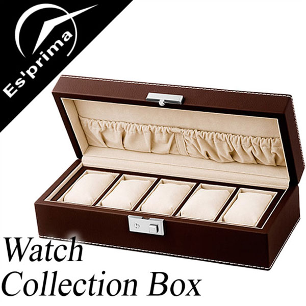 コレクションボックス 腕時計ケース Collection Box コレクションケース Collection case 時計ケース 時計 腕時計 メンズ レディース SP-80048LBR ディスプレイ ウォッチケース 収納ケース 5本収納 5本 木製 収納 インテリア おしゃれ エスプリマ Esprima 人気 送料無料