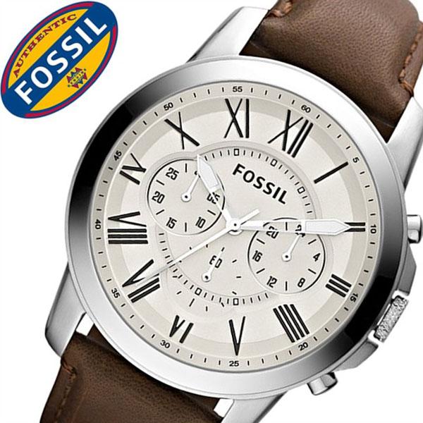 【3,381円引き】 フォッシル腕時計 FOSSIL時計 FOSSIL 腕時計 フォッシル 時計 グラント GRANT メンズ ホワイト FS4735 革 ベルト クロノ グラフ ブラウン シルバー アイボリー クリーム ファッション 人気
