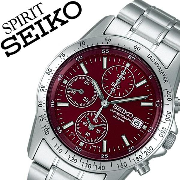 【5年保証対象】セイコー腕時計 SEIKO時計 SEIKO 腕時計 セイコー 時計 スピリット SPIRIT メンズ レッド SBTQ045 メタル ベルト 正規品 クロノグラフ 限定 防水 シルバー シンプル 父の日 ギフト