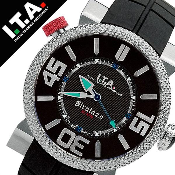 [当日出荷] 【5年保証対象】アイティーエー 腕時計 I.T.A. 腕時計 アイティーエー 時計 I.T.A. 時計 ITA ITA腕時計 ITA時計 ピラータ Pirata 2 メンズ ブラック 20.00.02 ラバー ベルト 正規品 イタリア ブランド ファッション ウォッチ 防水 ダイバー 送料無料