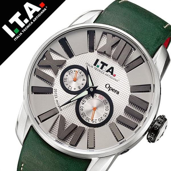 アイティーエー 腕時計 I.T.A. 腕時計 アイティーエー 時計 I.T.A. 時計[ITA] ITA腕時計 ITA時計 オペラ Opera メンズ グレー ITA-21-00-03 [革 ベルト 機械式 自動巻 メカニカル 正規品 イタリア ブランド ファッション シルバー グリーン][バーゲン プレゼント ギフト]