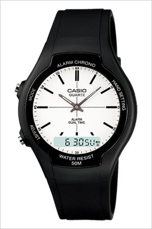 カシオ腕時計 CASIO時計 CASIO 腕時計 カシオ 時計 スタンダード STANDARD ANA-DIGI メンズ レディース ホワイト AW-90H-7E 人気 ブランド 防水 ホワイト ブラック アナデジ チプカシ チープ カシオ