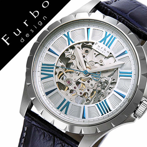 フルボデザイン 腕時計 [Furbodesign 時計]フルボ デザイン 時計[Furbo design 腕時計]自動巻き 腕時計[機械式 腕時計]メンズ シルバー F5021SSIBL [人気 新作 ブランド 防水 革 ベルト レザ- 機械式 自動巻き 自動巻 スケルトン ブラック][バーゲン プレゼント ギフト]