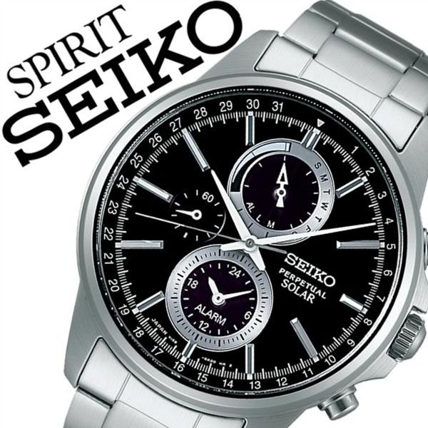 【5年保証対象】セイコー腕時計 SEIKO時計 SEIKO 腕時計 セイコー 時計 スピリット スマート SPIRIT SMART メンズ ブラック SBPJ005 メタル ベルト ソーラー クロノグラフ 正規品 防水 シルバー 送料無料