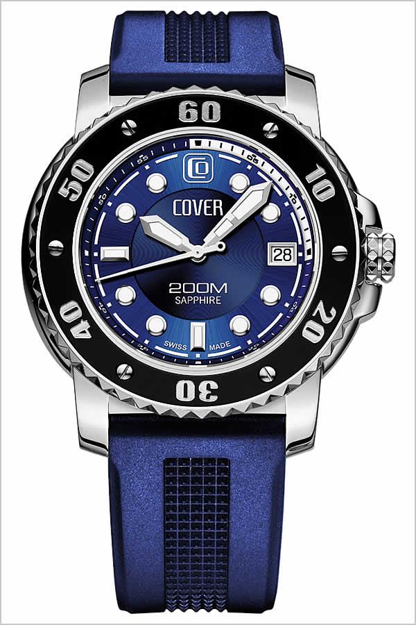 コヴァー 腕時計[COVER 時計]コヴァー 時計[COVER 腕時計]コヴァー腕時計 ダイバー 2 DIVER II ブルー CO14510 [コバー スイス 人気 ブランド 防水 ラバー ベルト シリコン ダイバーズウォッチ ダイビング ダイバー 通販][バーゲン プレゼント ギフト][おしゃれ 腕時計]