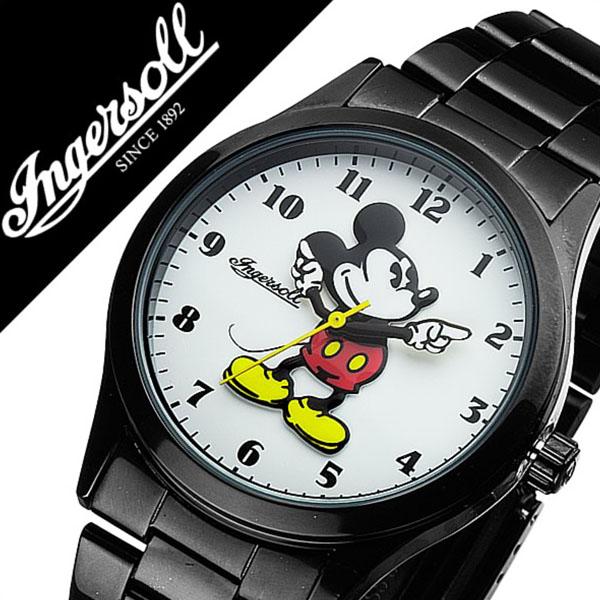 インガソール ミッキー 腕時計 INGERSOLL MICKEY 時計 ディズニー 時計 Disney 腕時計 インガソールミッキー INGERSOLLMICKEY ディズニー時計 メンズ レディース ZR26438 メタル ベルト クラシック タイム コレクション ブラック