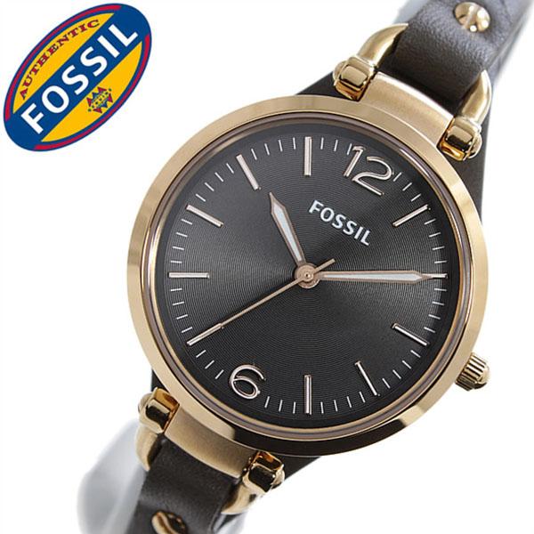 フォッシル 腕時計 FOSSIL 時計 フォッシル 時計 FOSSIL 腕時計 フォッシル時計 フォッシル腕時計 ジョージア GEORGIA レディース ブラック ES3077 レザー 革 ベルト ファッション 人気 フォーマル グレー ローズ ゴールド スモーク プレゼント ギフト 送料無料
