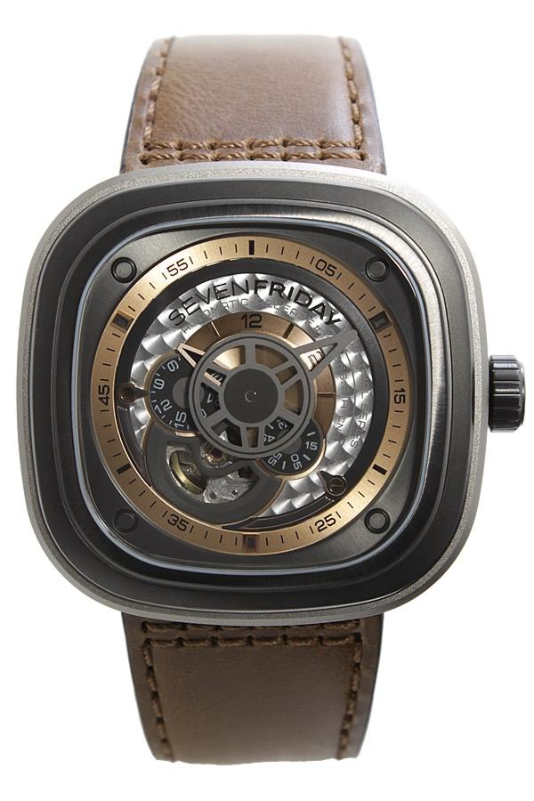 セブンフライデー 腕時計 SEVENFRIDAY 時計 セブン フライデー 時計 SEVEN FRIDAY 腕時計 ピー シリーズ インダストリアル レボリューション P SERIES INDUSTRIAL REVOLUTION メンズ P2 01 革 ベルト 機械式 自動巻き ローズ ゴールド P2-1