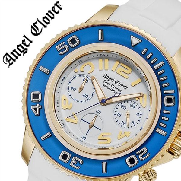 【5年保証対象】エンジェルクローバー 腕時計 AngelClover 時計 エンジェル クローバー 時計 Angel Clover 腕時計 シークルーズ SEA CRUISE メンズ ホワイト SC47YBU-WH 新作 防水 アナログ クロノグラフ ラバー ベルト ホワイト ゴールド プレゼント 送料無料
